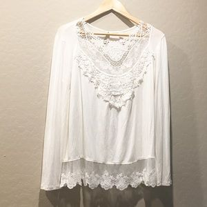 Bohemian embroidered tunic ivory blouse LARGE